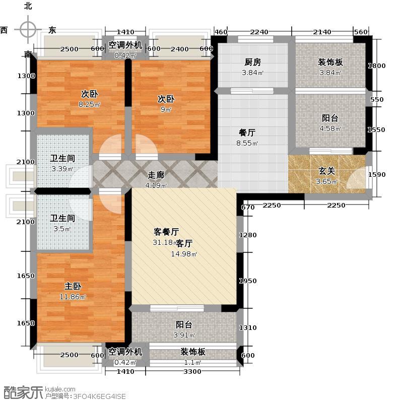 凌峰汉北首府128.00㎡A1 三室两厅两卫户型3室2厅2卫