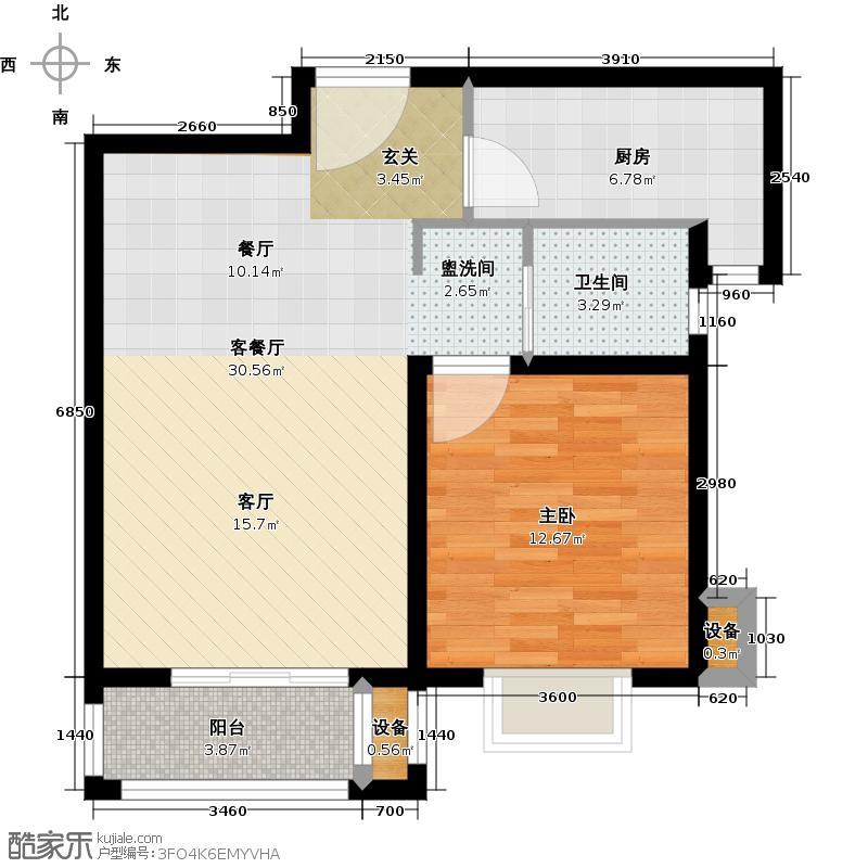 中房澜泊湾66.00㎡高层F2户型图户型1室2厅1卫