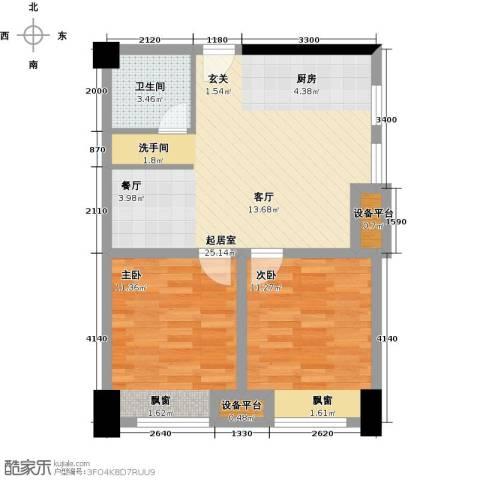 金科VISAR国际2室0厅1卫0厨65.00㎡户型图