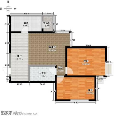 艾博都泊林2室1厅1卫1厨91.00㎡户型图