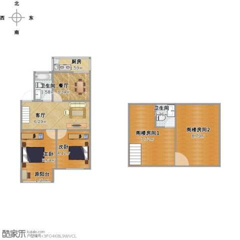 嘉泰公寓2室2厅2卫1厨54.00㎡户型图