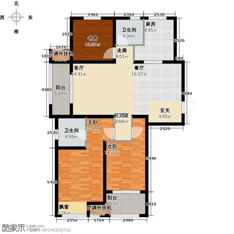 武进吾悦广场F户型3室2厅2卫1厨138.00㎡户型
