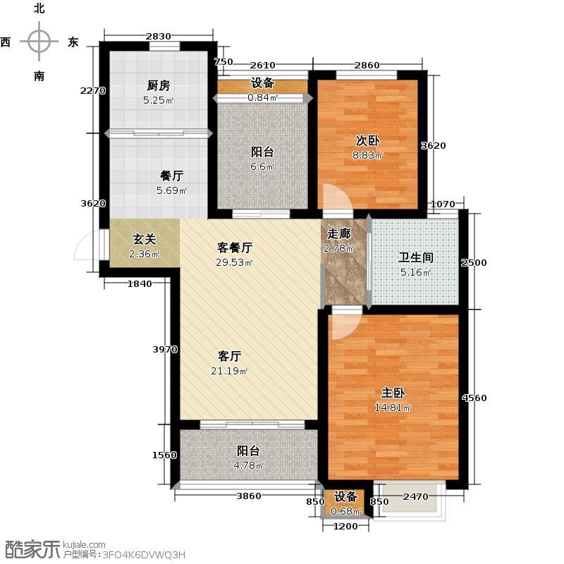 华园星城10、7、3、6、2号楼A1户型2室1厅1卫1厨