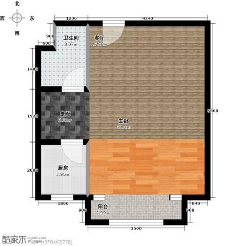 鑫和银座1室0厅1卫1厨58.00㎡户型图