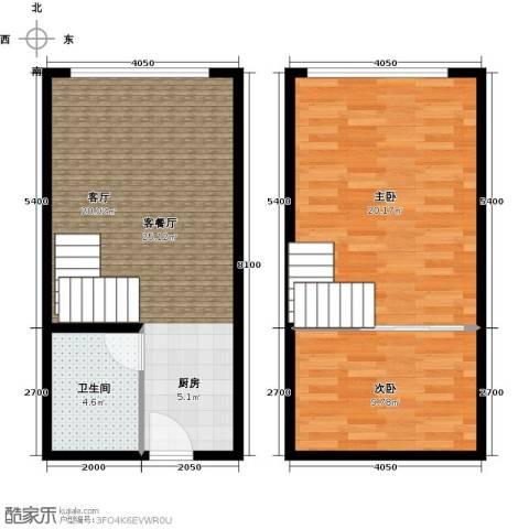 水木年华2室1厅1卫0厨59.68㎡户型图