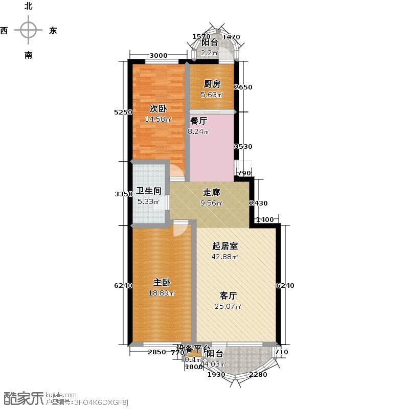 香洲心城三期100.00㎡21、22#B户型2室2厅1卫1厨 100户型2室2厅1卫