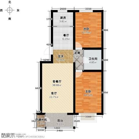 金润华府2室1厅1卫1厨95.00㎡户型图