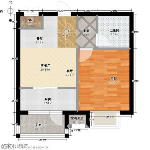 雯霆华苑1室1厅1卫1厨52.00㎡户型图