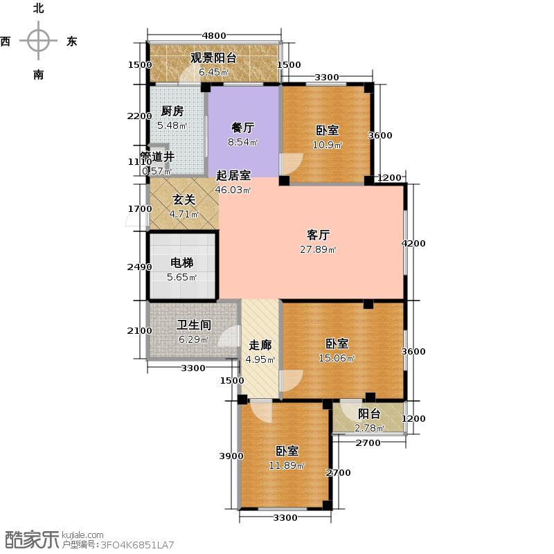 南山学府139.43㎡4号楼1单元1号 三室二厅一卫户型3室2厅1卫