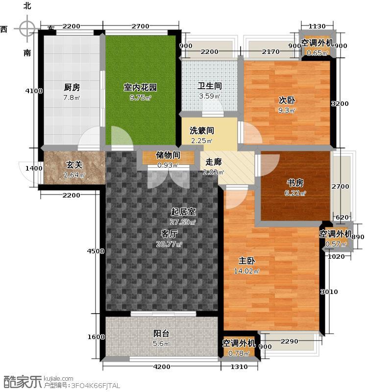 华仁凤凰城117.53㎡D1户型3室1厅1卫