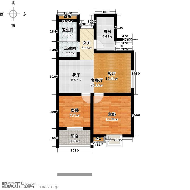景寓学府74.96㎡E1户型 2室2厅1卫1厨户型