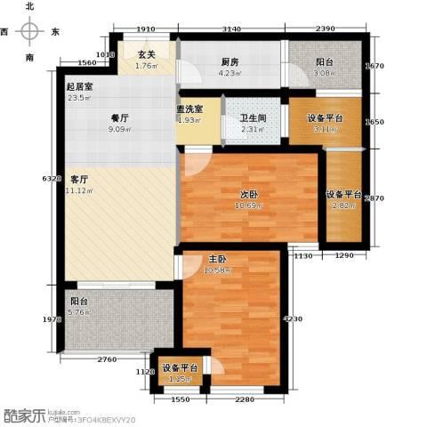 星河国际2室0厅1卫1厨99.00㎡户型图