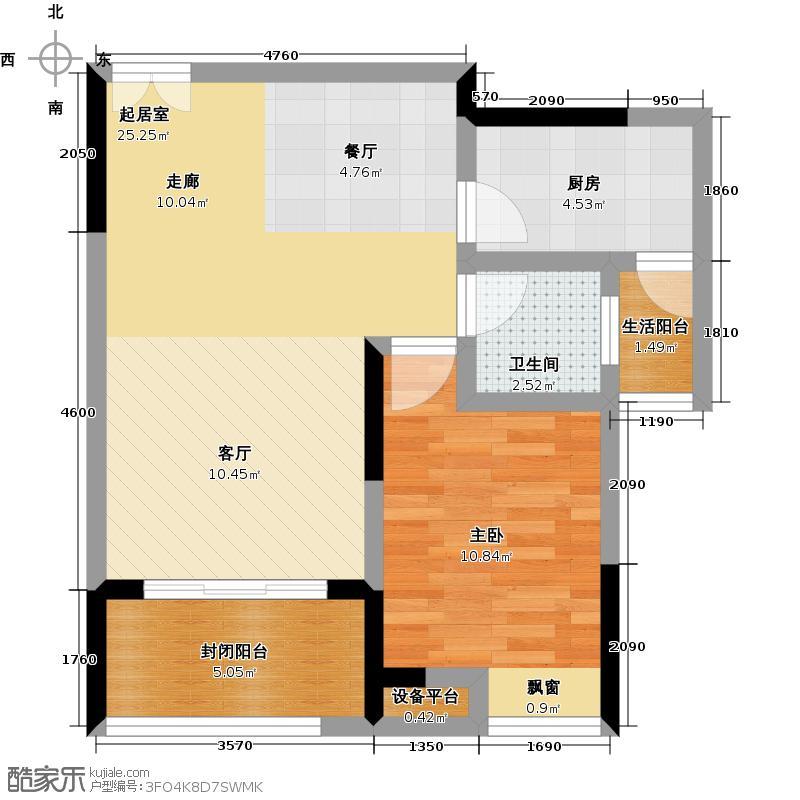 金科VISAR国际1号楼B户型1室1卫1厨