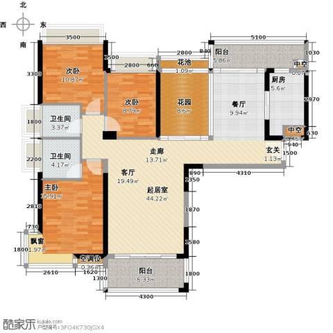 太阳湾3室0厅2卫1厨140.00㎡户型图