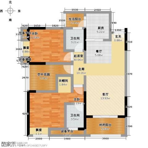 金科VISAR国际2室0厅2卫1厨87.00㎡户型图