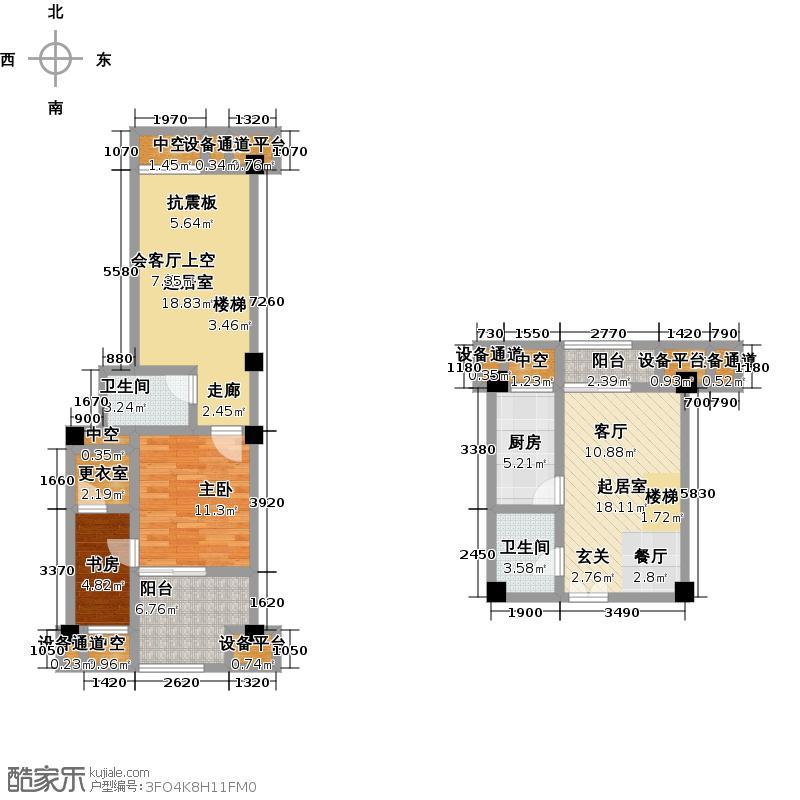D座A户型下跃 两室一厅两卫一厨 套内面积1/8号房约66.88㎡,3号房约67.01㎡,6/10/15号房约66.67㎡,12号房约66.99㎡,13号房约67.29㎡