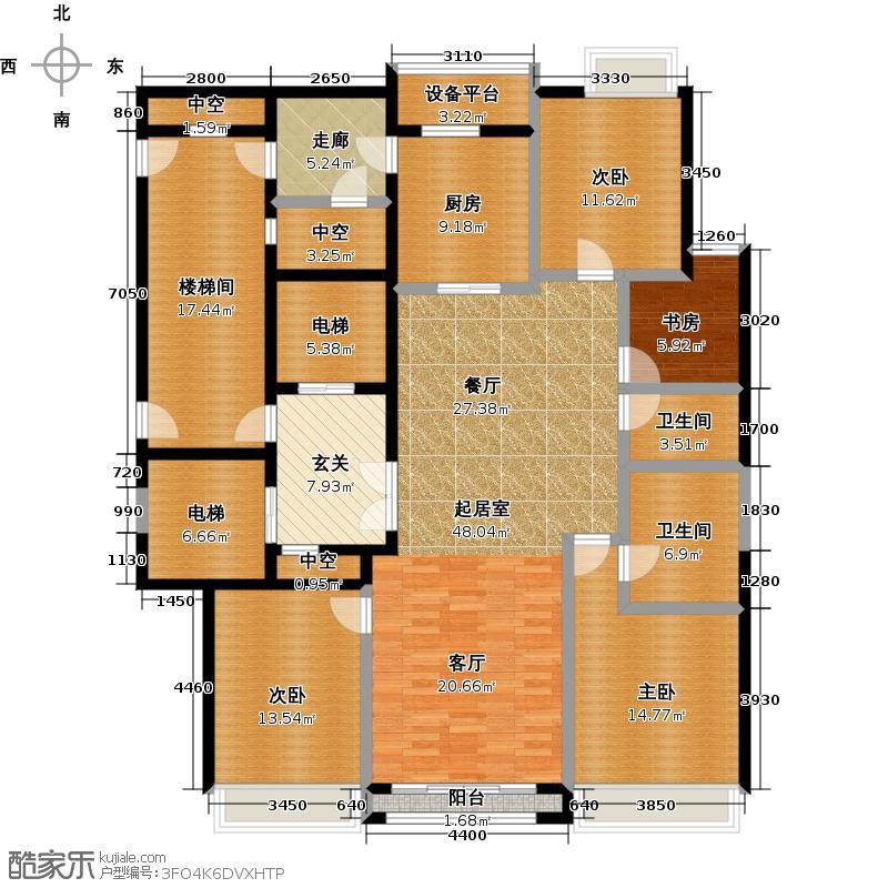 绿城大连深蓝中心189.00㎡锦蓝座B型图 4室2厅2卫1厨户型