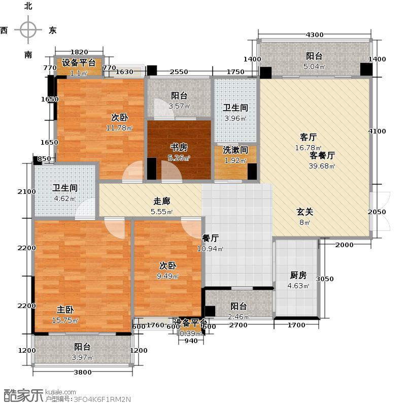 汉口湖畔129.00㎡9号楼4C1户型 四房两厅两卫户型4室2厅2卫