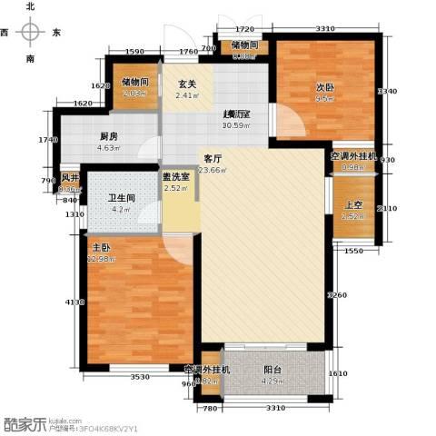 龙德花园2室0厅1卫1厨89.00㎡户型图