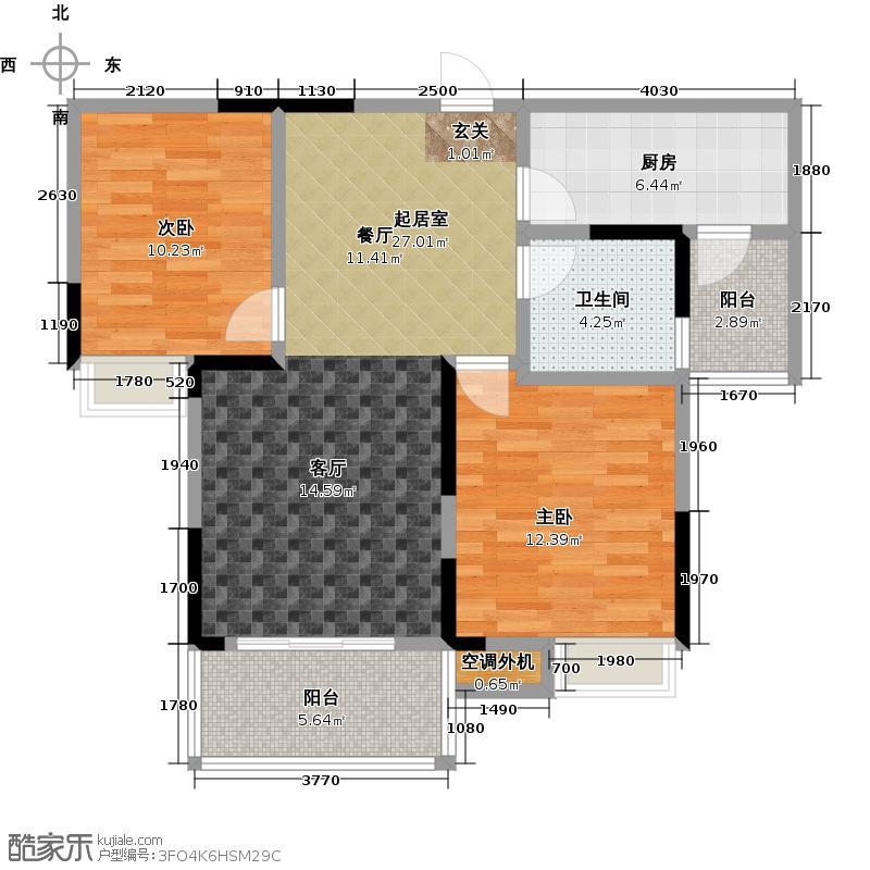 鸿景华庭83.00㎡高层H2户型2室2厅1卫