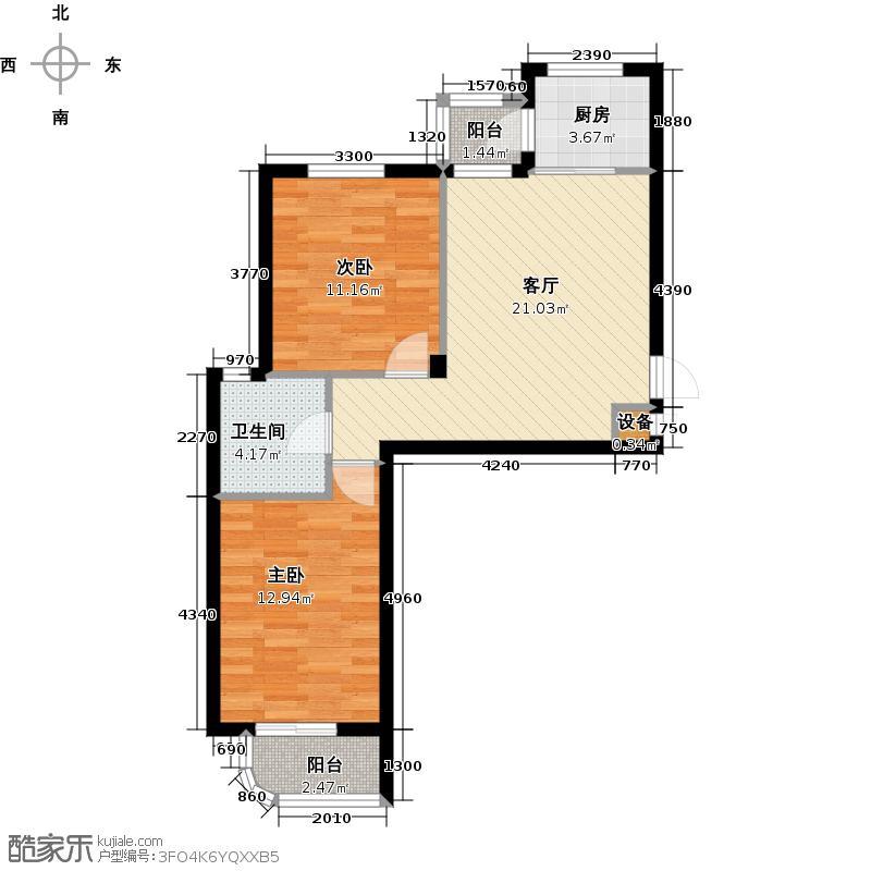 学府尚居户型2室1厅1卫1厨