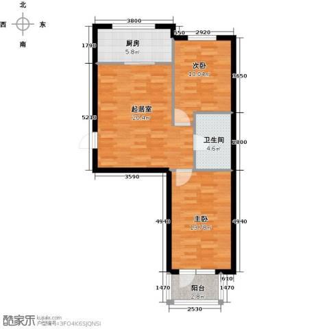 富森悠然生活2室0厅1卫1厨72.00㎡户型图