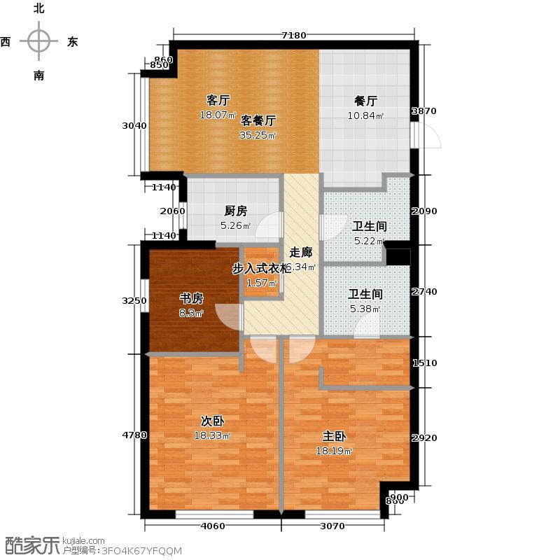 星海大观163.00㎡3室2厅2卫面积约163平米户型