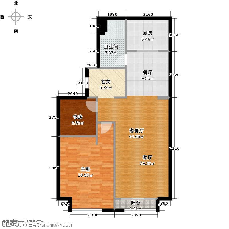 星海大观127.00㎡2室2厅1卫面积约127平米户型