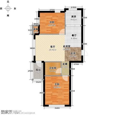 富森悠然生活2室0厅1卫1厨66.00㎡户型图