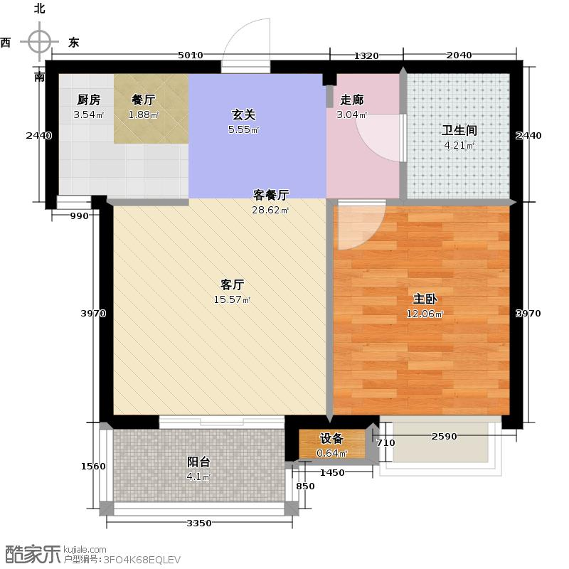 瀛海金洲56.92㎡A2户型1室1厅1卫