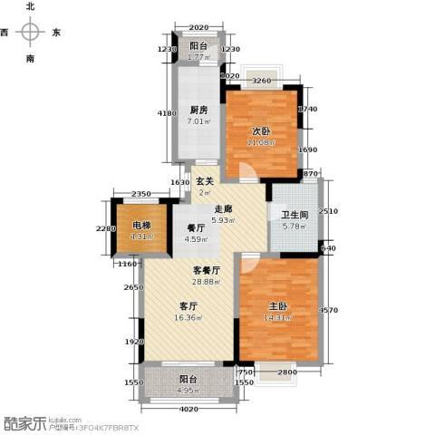 中惠卡丽兰2室1厅1卫1厨85.00㎡户型图