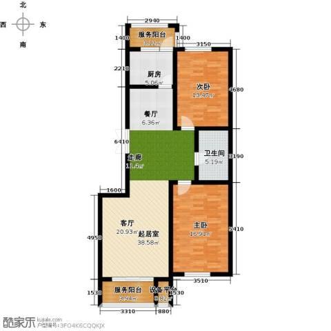 中天富城2室0厅1卫1厨100.00㎡户型图