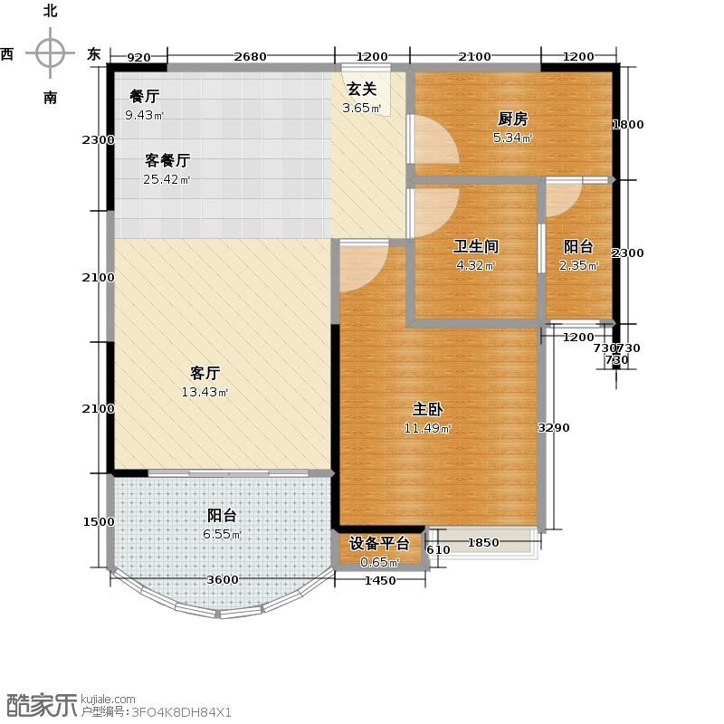 长安锦绣城户型1室1厅1卫1厨