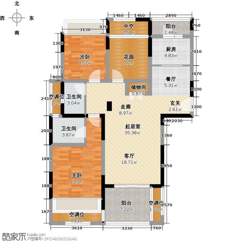 莱蒙城113.00㎡铂郡A6户型 2室2厅2卫户型2室2厅2卫