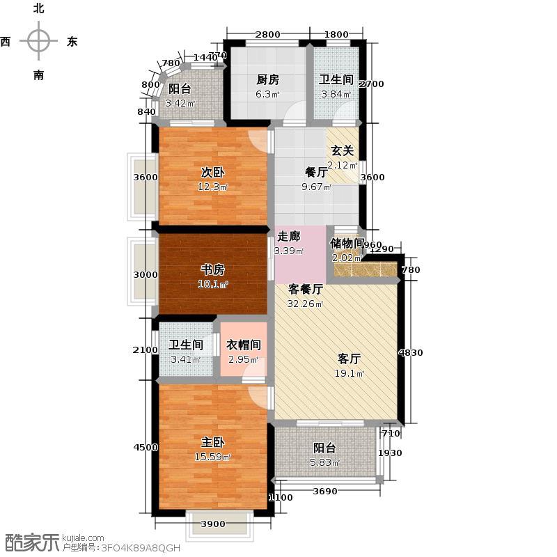 龙腾随园D-2A户型 三房两厅一厨两卫户型3室2厅2卫