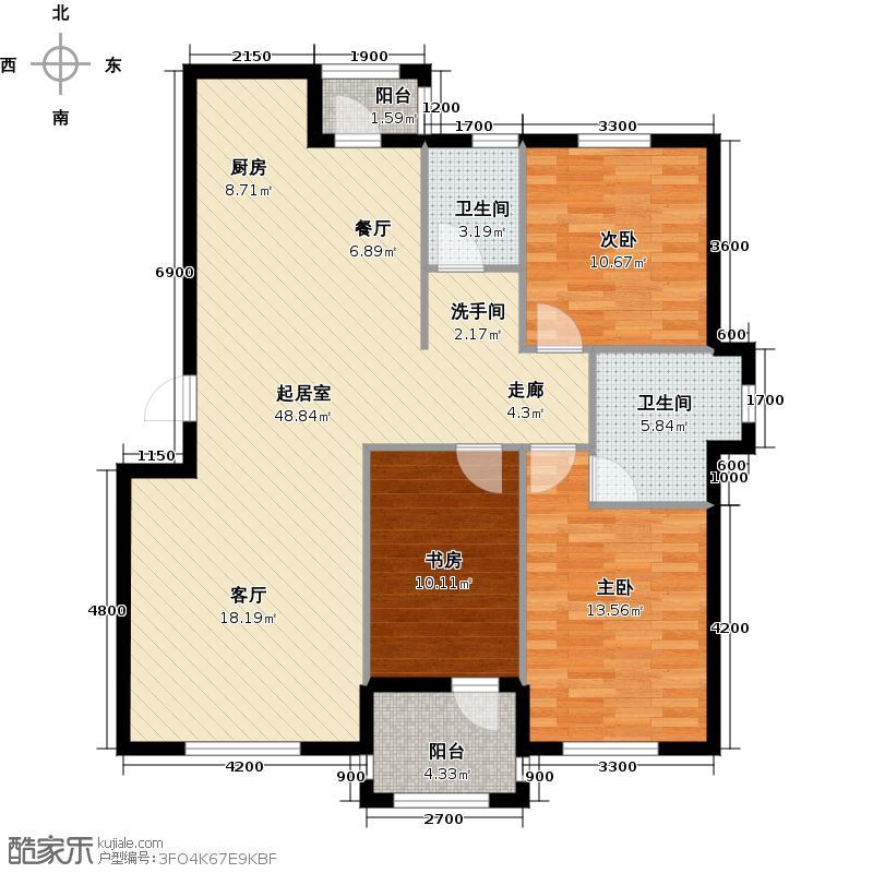 易和岭秀滨城124.00㎡3号楼D4户型图3室2厅2卫1QQ