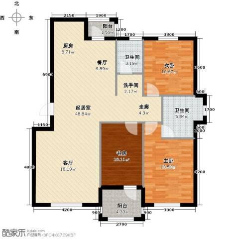 易和岭秀滨城3室0厅2卫0厨124.00㎡户型图