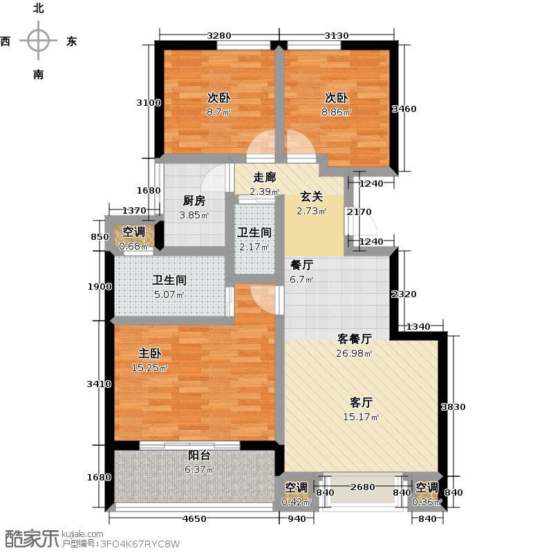 青山195890.00㎡5-3S-01 三室二厅二卫户型3室2厅2卫