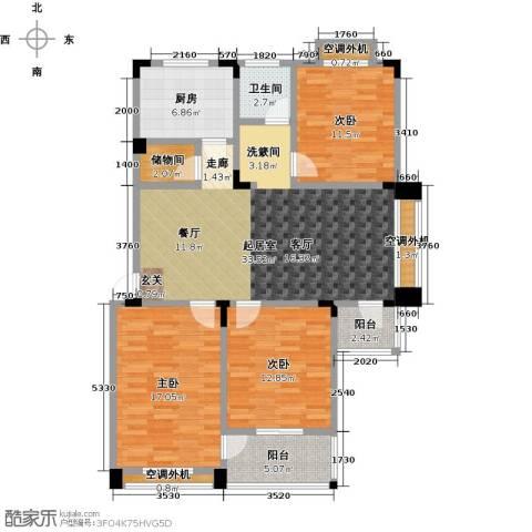 丽�花园3室0厅1卫1厨116.00㎡户型图