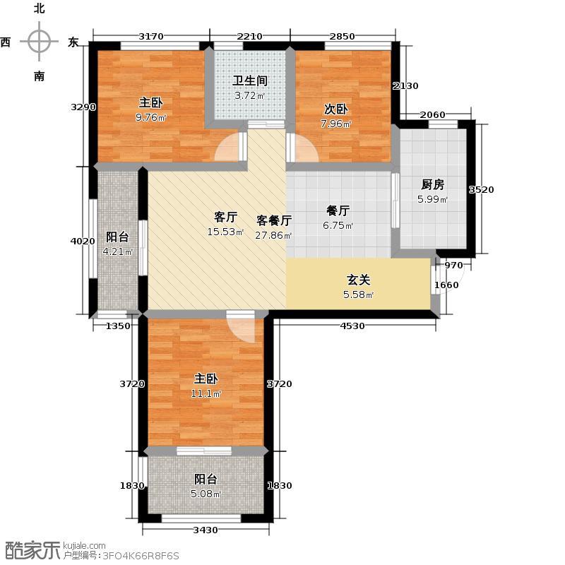 青山195888.00㎡2-3S-01 三室二厅一卫户型3室2厅1卫