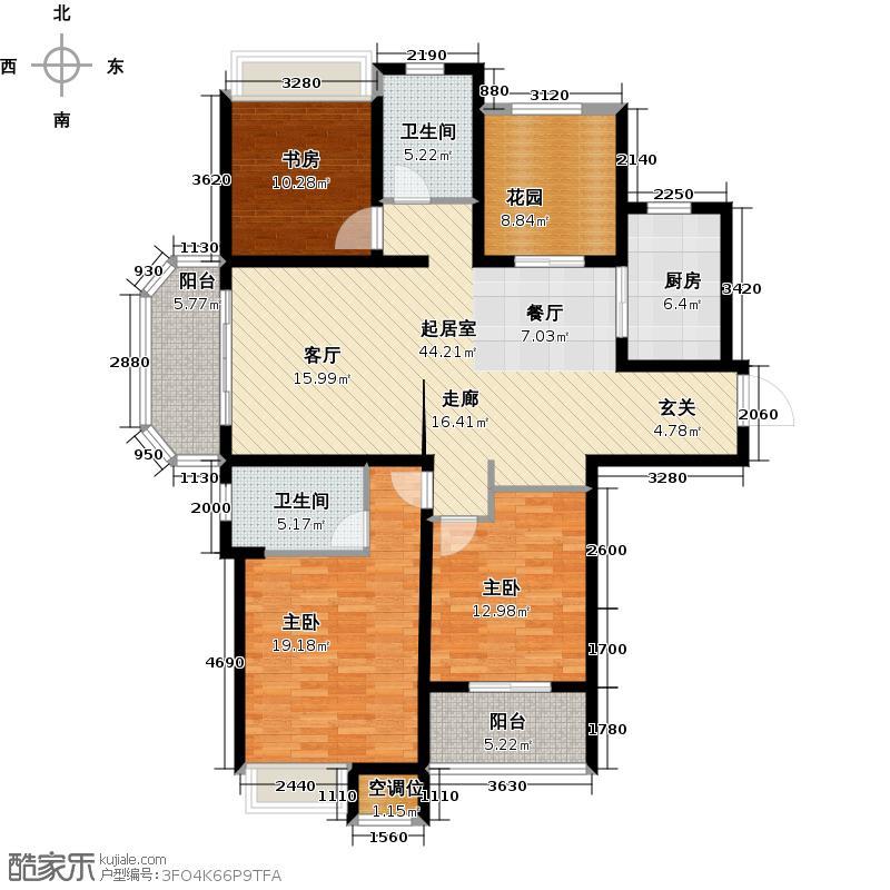 御城142.00㎡29号、30号A户型 三房两厅两卫+空中花园户型3室2厅2卫