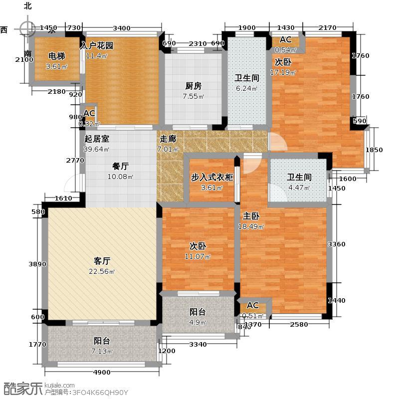 中建瀛园157.00㎡中建瀛园4#洋房B-1户型3室2厅2卫户型