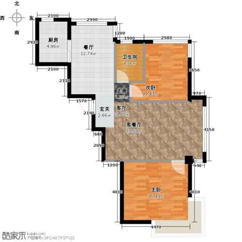蓝山国际2室1厅1卫1厨106.00㎡户型图