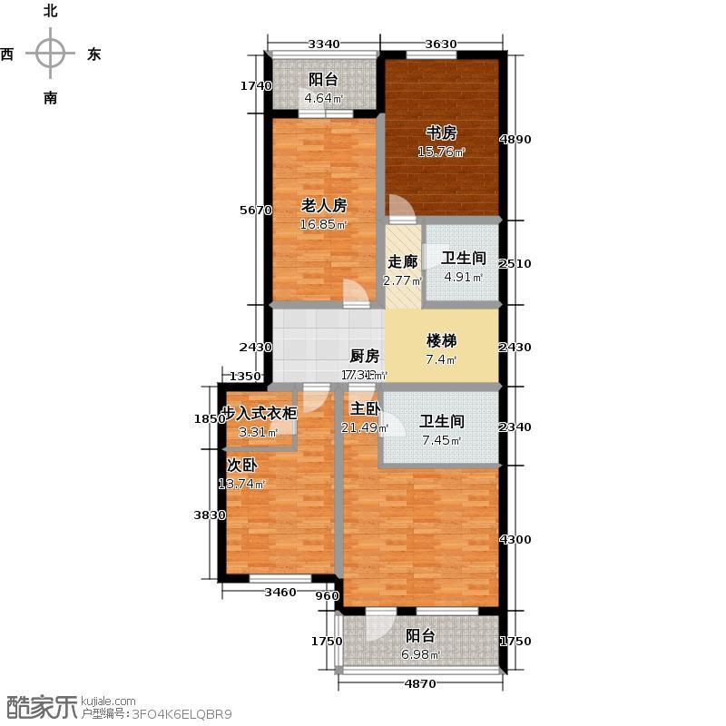 御苑129.00㎡叠加-地上2F/4F户型3室1厅2卫