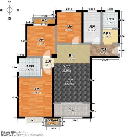 嘉利华府庄园3室0厅2卫1厨107.00㎡户型图
