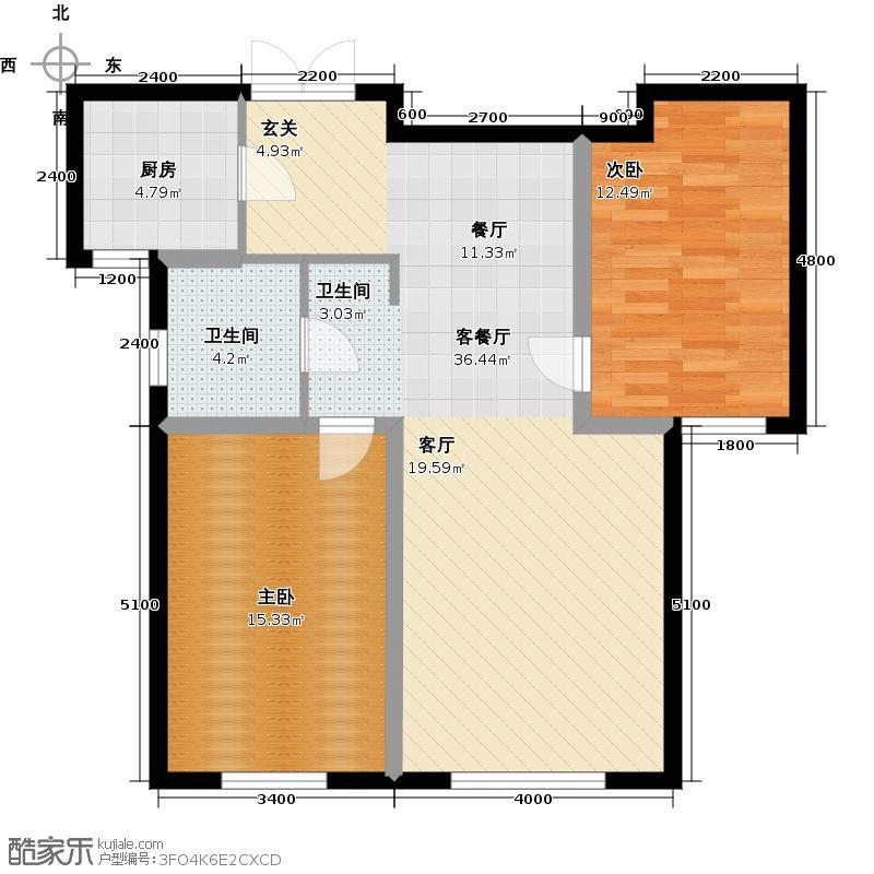 富贵国际花苑户型2室1厅1卫1厨