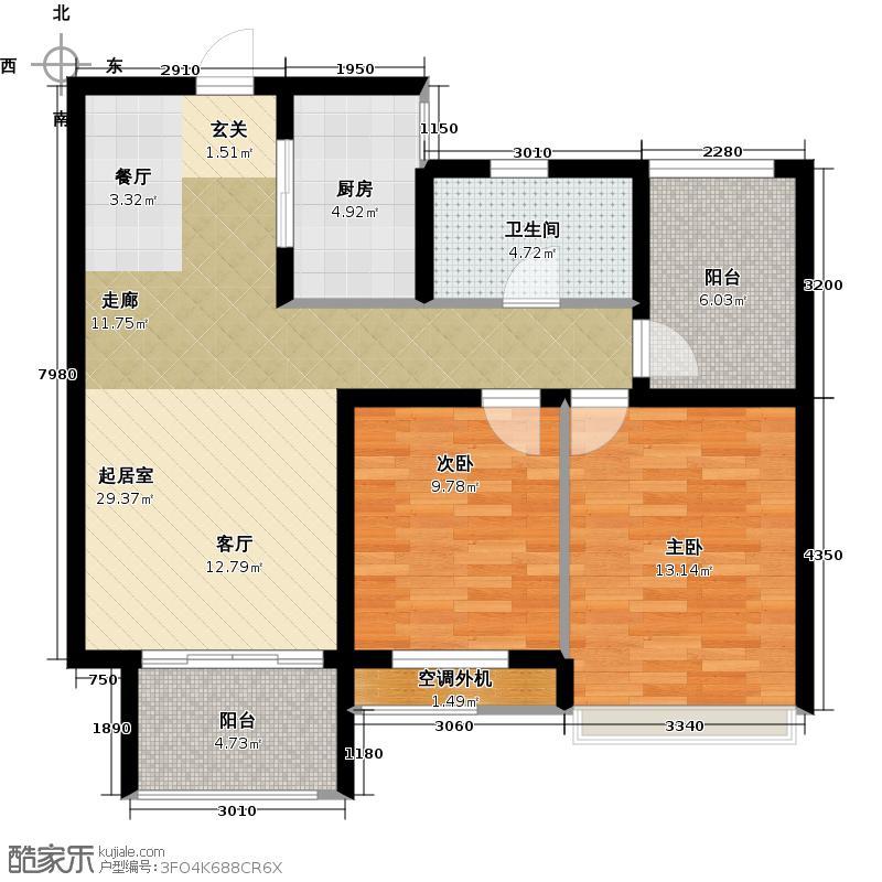 凯尔锋度85.00㎡1#、2#、3#、4#楼两房两厅一卫85平米户型2室2厅1卫