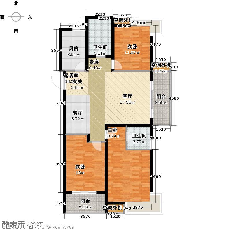 凯尔锋度130.00㎡1#、2#、3#、4#楼三房两厅两卫130平米户型3室2厅2卫