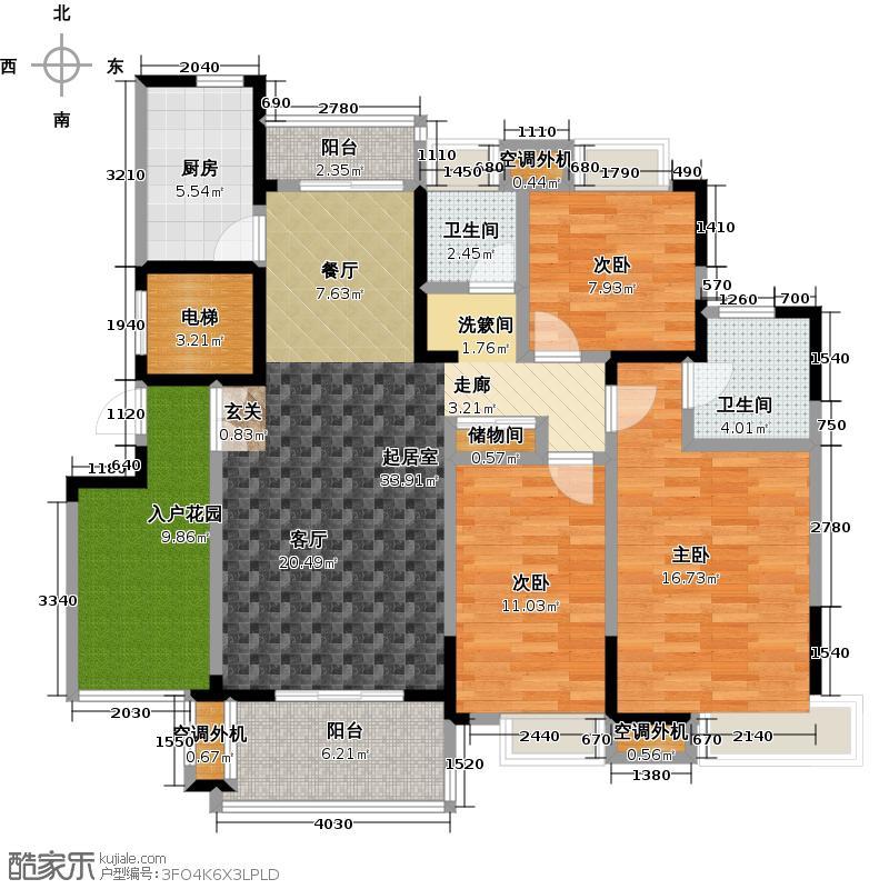 复地公园城邦125.00㎡B1户型 建筑面积125平方米户型