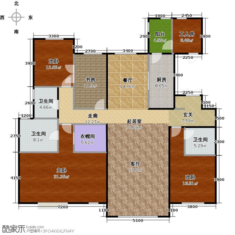 富力津门湖二期231.00㎡清溪2,3,4号楼1单元标准层01户型 231平米户型5室2厅3卫